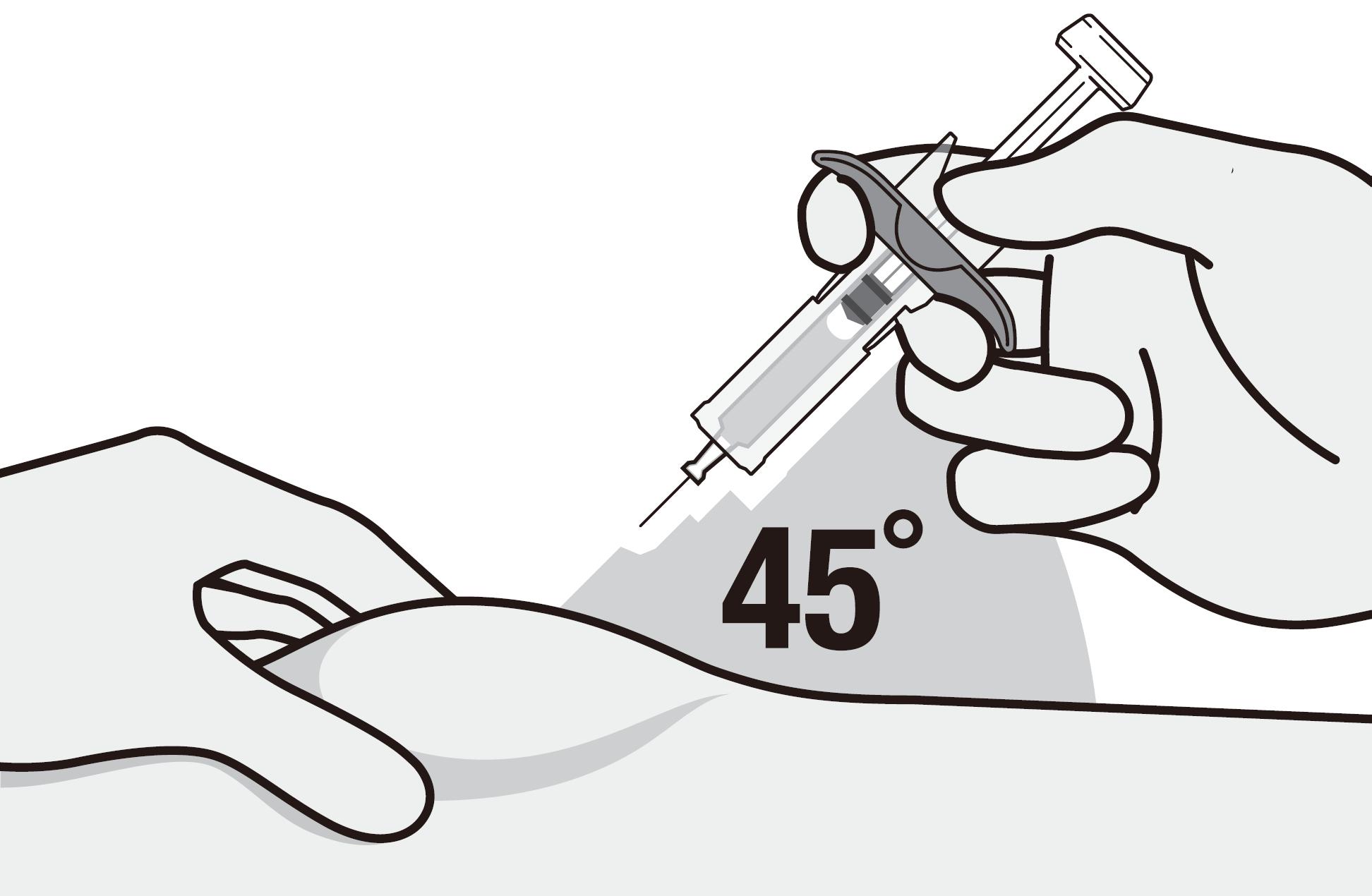 Tryck in nålen i injektionsstället