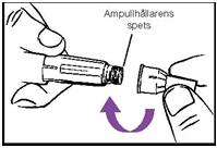 Sätt fast en ny nål, utan nåldöljare