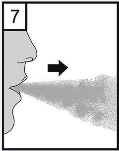 Andas ut fullständigt. Det är viktigt att utandningen inte sker genom munstycket. Undvik alltid att andas ut genom munstycket.