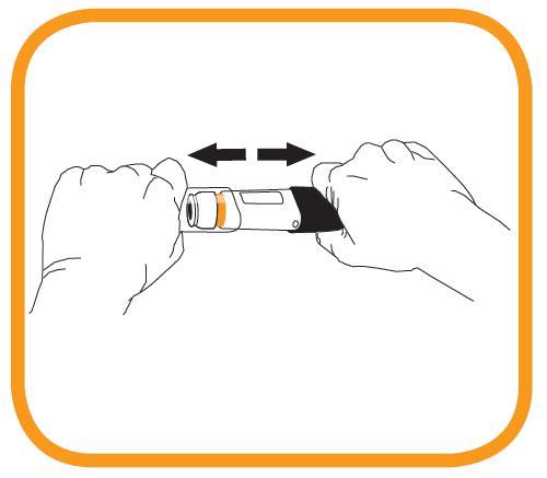 Bilden visar hur nålspetsen ska avtäckas genom att med ena handen hålla i det svarta handtaget och med den andra handen dra av det genomskinliga locket