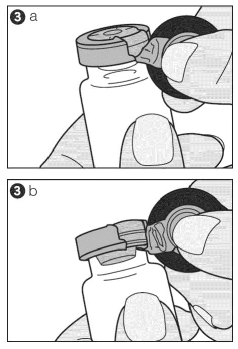Dra locket nedåt och vrid lätt åt höger (bild 3a) eller vänster så att förseglingen bryts på endast en av sidorna (bild 3b).