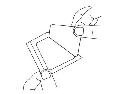 2. Dra bort pappersskiktet från den mittersta delen av förbandets icke-självhäftande sida