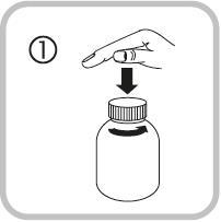 Bilden visar hur du öppnar flaskan genom att trycka ner locket och samtidigt vrida det moturs