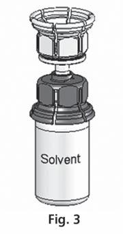 Mix2Vial placerad på flaskan.