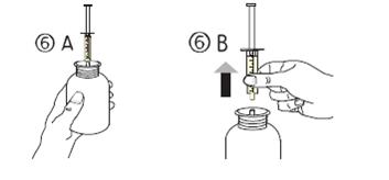 Vänd flaskan upprätt, avlägsna därefter sprutan från adaptern.