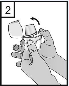 Håll ett fast grepp om inhalatorns underdel och öppna munstycket genom att dra det uppåt i pilens riktning.