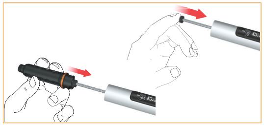 Tryck in det gängade skaftet helt och hållet. Detta utförs bäst med hjälp av fingertoppen.