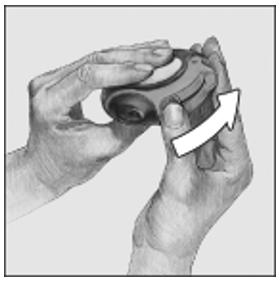 visar hur pulverdosen förbereds för inhalering