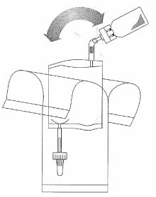 Håll slangen (inte injektionsflaskan) lodrätt och bryt av den övre ventilen genom att böja den fram och tillbaka.