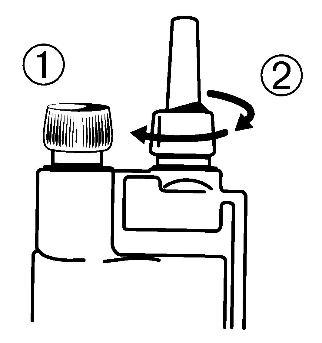 2) Fäst applikatorn på dosbehållaren.
