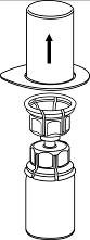 Håll i kanterna på Mix2Vial-setet och dra blisterförpackningen vertikalt uppåt.