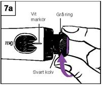 Förbered injektion, vrid den grå ringen