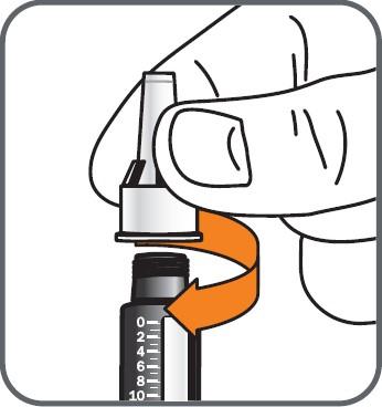 Skruva fast pennålen på cylinderampullen medurs.