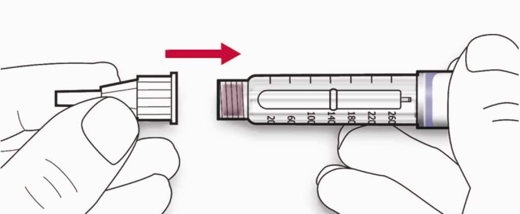 Bilden beskriver hur man sätter fast nålen på pennan