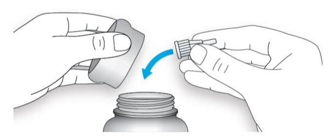 Bilden visar hur du kasserar den använda nålen