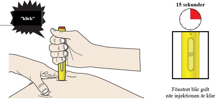 Fortsätt trycka ner pennan. Injektionen tar ca 15 sekunder