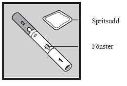 Bilden visar en injektionspenna och en spritsudd