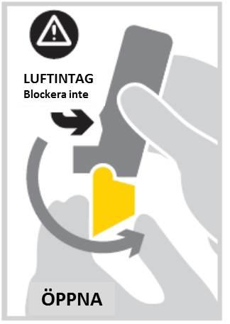 Öppna munstyckets lock genom att fälla ned det tills du hör ett tydligt klickljud. Nu är inhalatorn klar att användas.