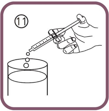 töm innehållet i sprutan i vatten
