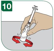 Håll injektionsflaskan med tummen och fingrarna.