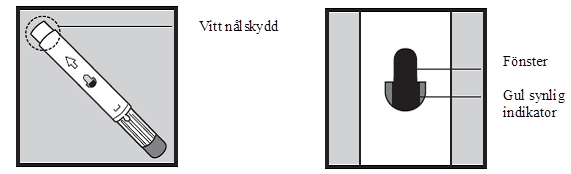 Bilden till vänster visar det vita nålskyddet. Bilden till höger visar kontrollfönstret på injektionspennan som ska visa en gul indikator efter injektion