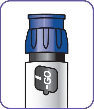 """Vrid doseringsknappen tills """"GO"""" visas i linje med skåran i doseringsfönstret. Vrid inte doseringsknappen förbi """"GO""""."""
