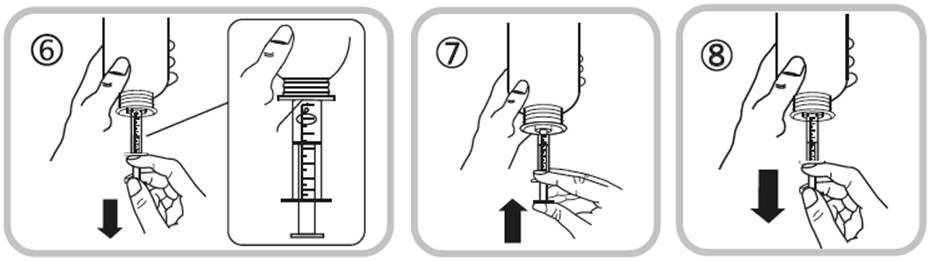 Bilden visar hur du håller flaskan upp och ned samt drar kolven nedåt till dosmarkeringen