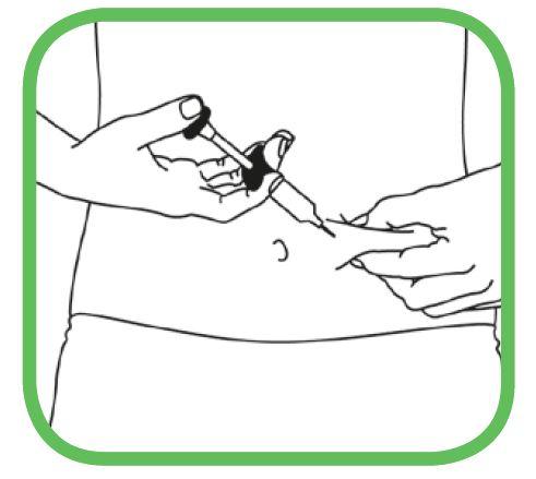 Ta försiktigt tag om det rengjorda hudområdet med ena handen och håll fast ordentligt