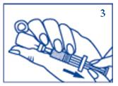 Håll injektionsnålen i vätskan och dra sakta tillbaka all lösning till sprutan.