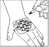 Skriv tidpunkten när plåstret sattes på huden.