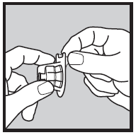 Bilden visar hur du tar bort fliken från flaskadaptorn