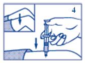 Injicera dosen under huden (subkutant) eller i muskel.