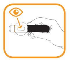 Bilden visar att du ska kontrollera läkemedlets utseende genom den förfyllda injektionspennans fönster