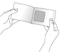Bilden visar hur man öppnar dospåsen