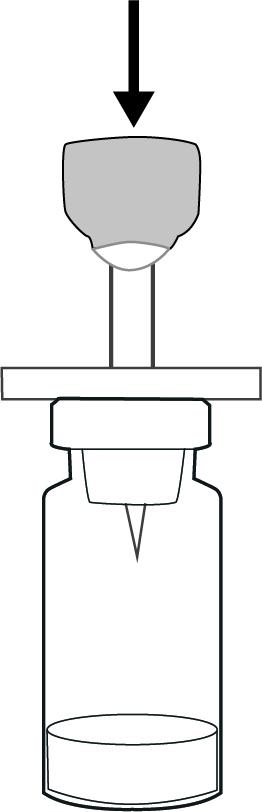 Penetrera proppen i injektionsflaskan med pulver med Mini-Spike.