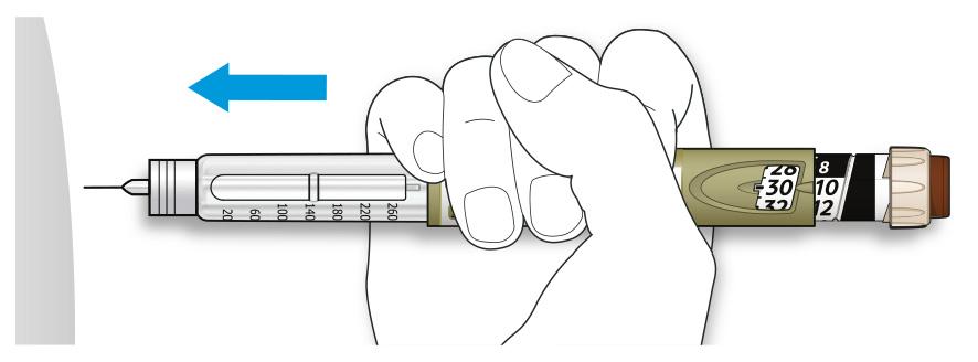 Bilden visar hur du sticker in nålen i huden