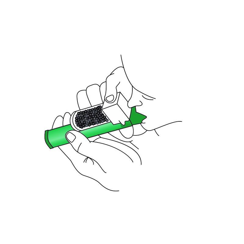 Hålet på behållaren med aktivt kol kan täckas för en kraftigare smärtlindring