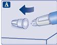 För in nålspetsen i det yttre nålskyddet