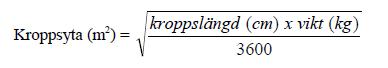 Formel för beräkning av patientens kroppsyta