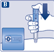 Håll doseringsknappen intryckt tills dosräknaren visar 0