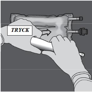 Tryck med den ena handen och rulla påsen mot portarna.