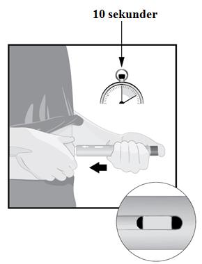 Tryck ner den plommonfärgade aktiveringsknappen och räkna långsamt till 10 sekunder.