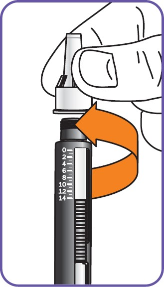 """• Håll det yttre nålskyddet rakt och skruva fast det medurs ordentligt på cylinderampullen (den bredare kanten på det yttre nålskyddet måste vidröra """"axeln"""" på cylinderampullen)"""