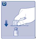 Sätt adaptern på injektionsflaskan.