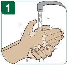 1 - Tvätta händerna noggrant med tvål och vatten innan du börjar.