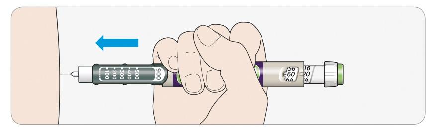 Stick in nålen i huden som din läkare eller sjuksköterska har visat dig. Rör inte injektionsknappen än.