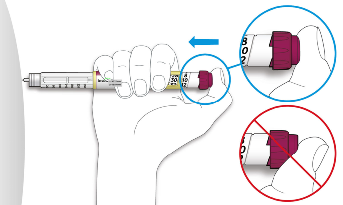 Tryck in injektionsknappen med tummen