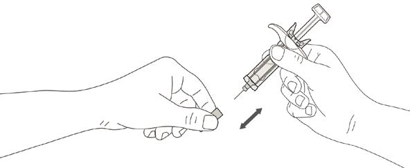 Bilden beskriver hur nålskyddet tas av.