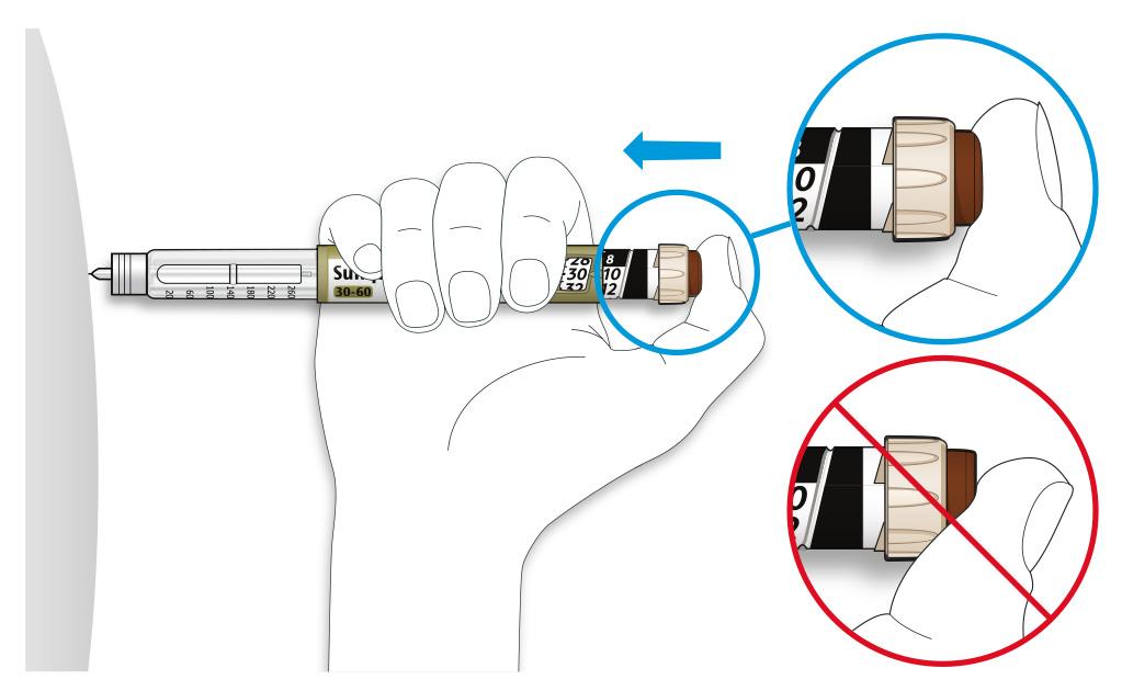 Bilden visar hur du placerar tummen på injektionsknappen
