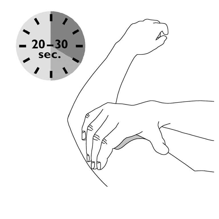 Bilden visar hur man lägger på handen på plåstret